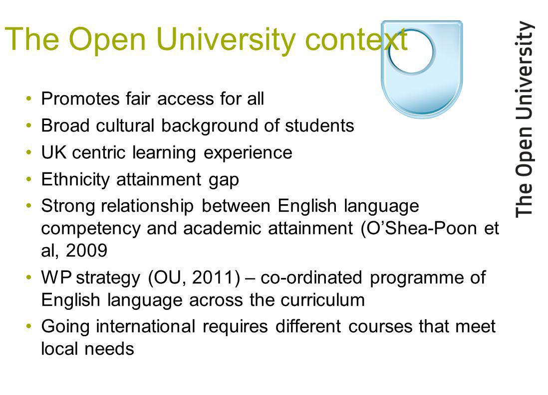 The Open University context Promotes fair access for all Broad cultural background of students UK centric learning experience Ethnicity attainment gap Strong relationship between English language competency and academic attainment (OShea-Poon et al, 2009 WP strategy (OU, 2011) – co-ordinated programme of English language across the curriculum Going international requires different courses that meet local needs