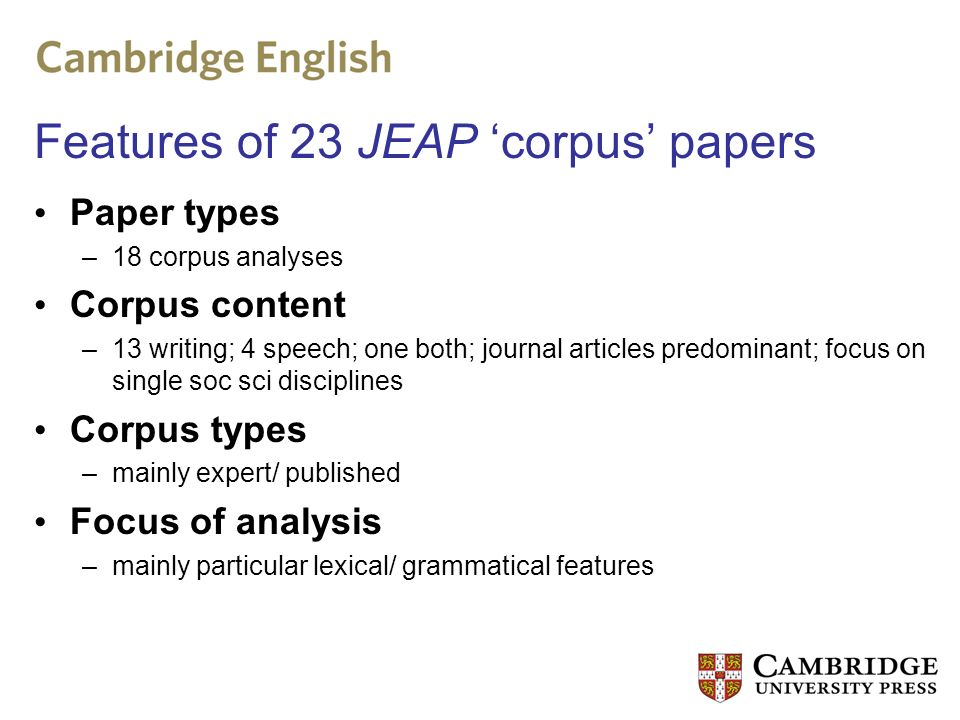 JEAP papers Corpus papers