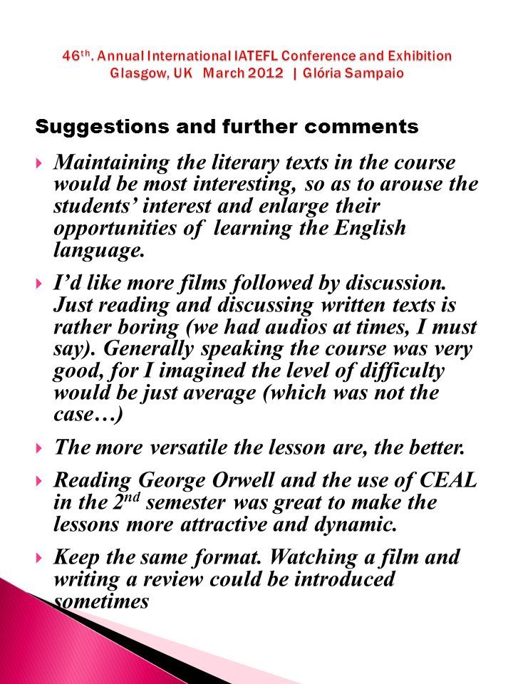 Suggestions and further comments Maintaining the literary texts in the course would be most interesting, so as to arouse the students interest and enlarge their opportunities of learning the English language.