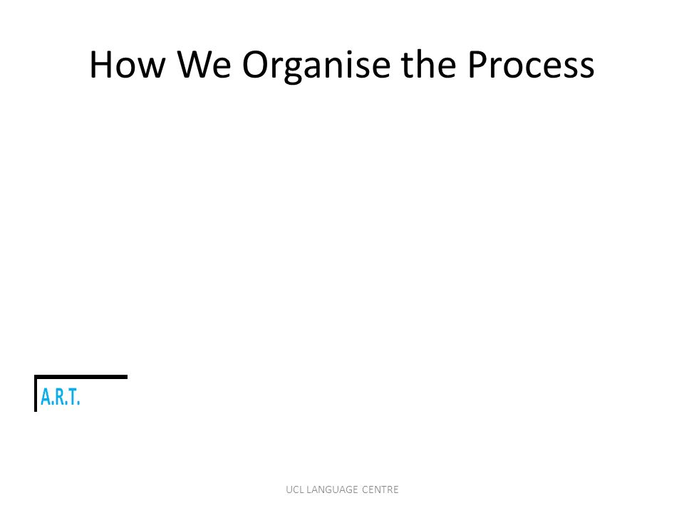 How We Organise the Process UCL LANGUAGE CENTRE