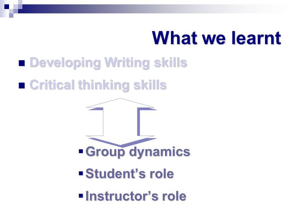 What we learnt Developing Writing skills Developing Writing skills Critical thinking skills Critical thinking skills Group dynamics Group dynamics Stu