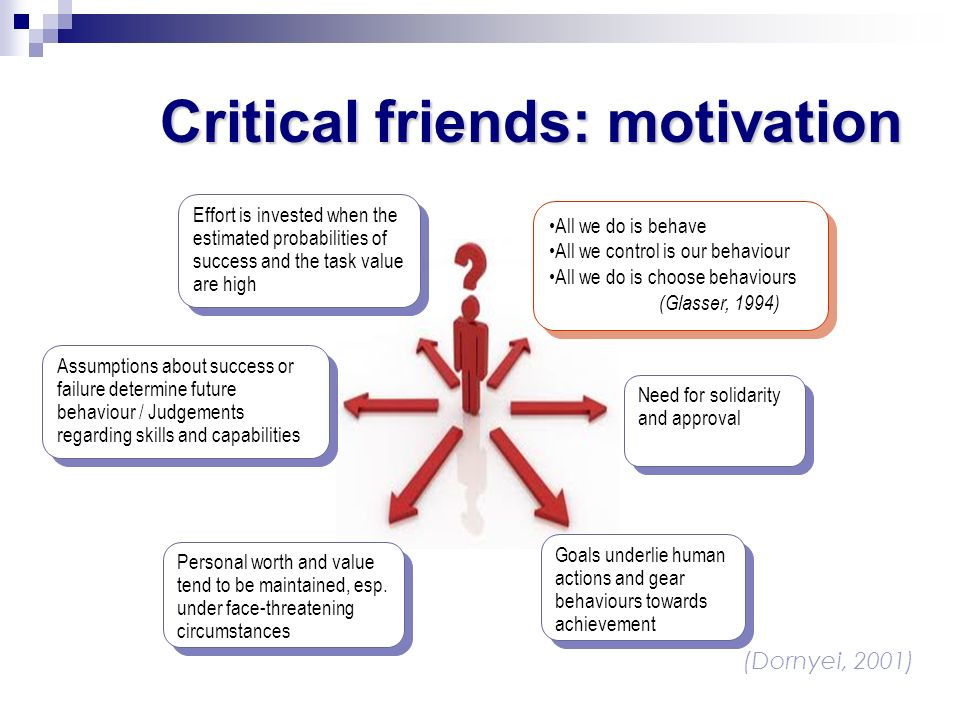 Critical friends: motivation (Dornyei, 2001) Effort is invested when the estimated probabilities of success and the task value are high All we do is b