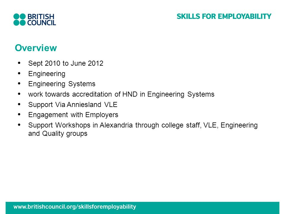 Overview Sept 2010 to June 2012 Engineering Engineering Systems work towards accreditation of HND in Engineering Systems Support Via Anniesland VLE Engagement with Employers Support Workshops in Alexandria through college staff, VLE, Engineering and Quality groups