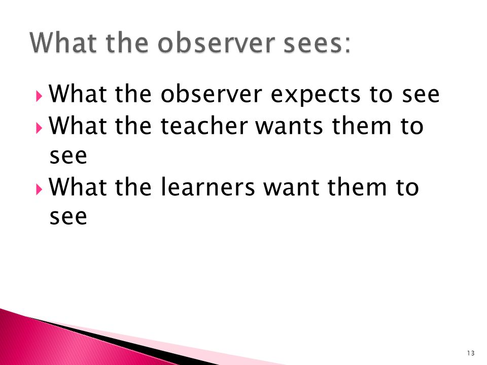 What the observer expects to see What the teacher wants them to see What the learners want them to see 13
