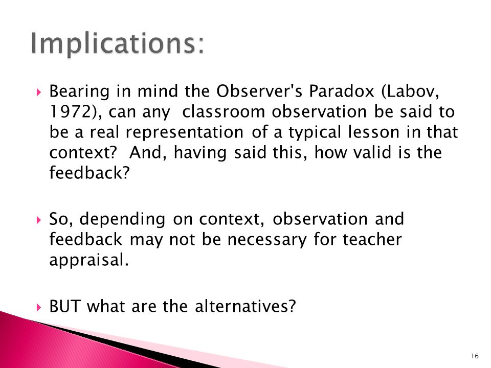 Bearing in mind the Observer's Paradox (Labov, 1972), can any classroom observation be said to be a real representation of a typical lesson in that co