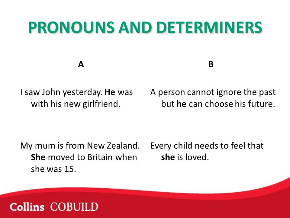 PRONOUNS AND DETERMINERS A I saw John yesterday. He was with his new girlfriend. My mum is from New Zealand. She moved to Britain when she was 15. B A