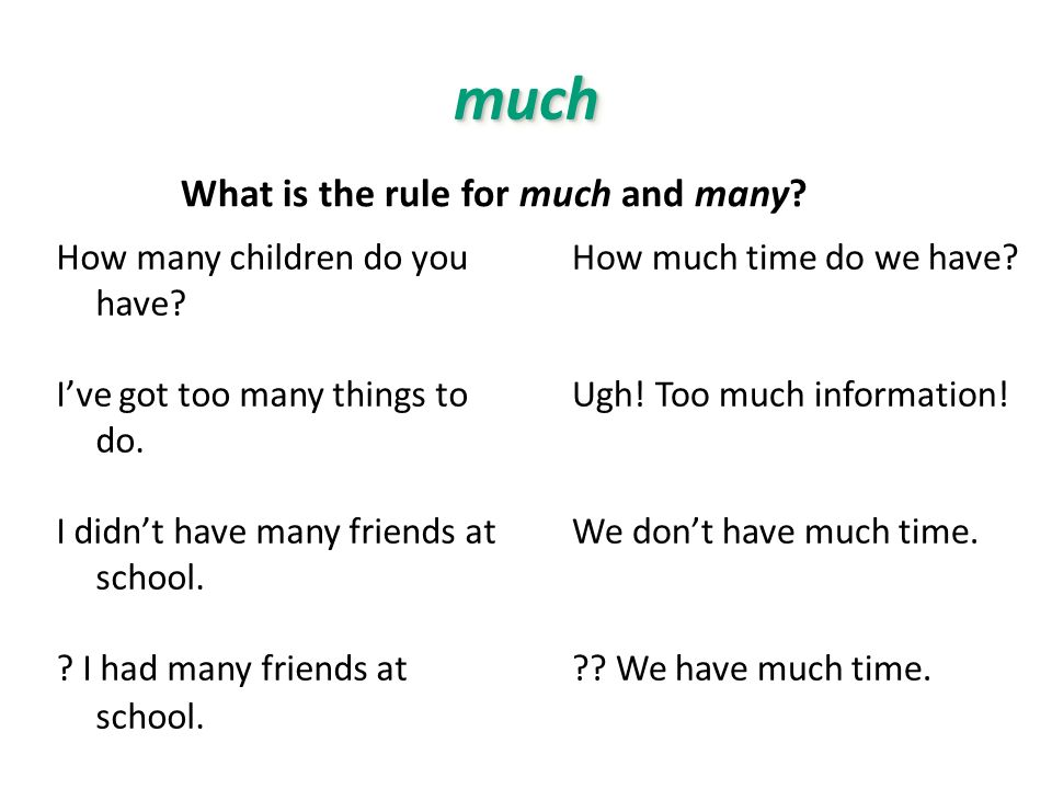 muchmuch How many children do you have? Ive got too many things to do. I didnt have many friends at school. ? I had many friends at school. How much t