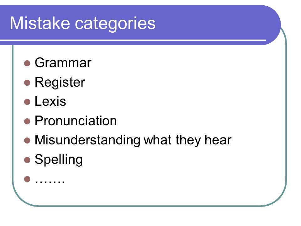 Mistake categories Grammar Register Lexis Pronunciation Misunderstanding what they hear Spelling …….