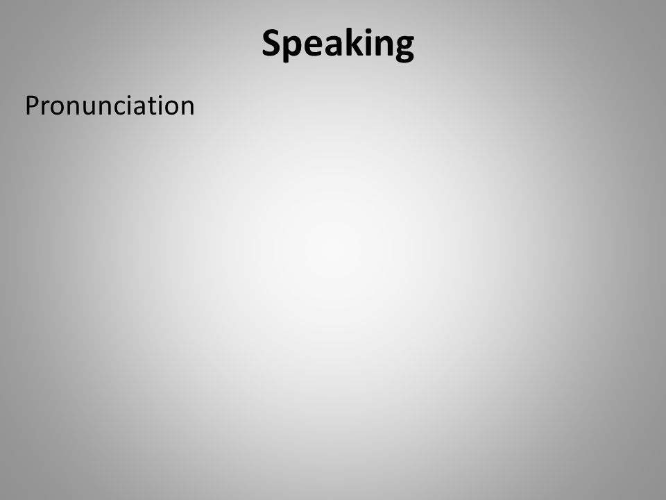 Speaking Pronunciation