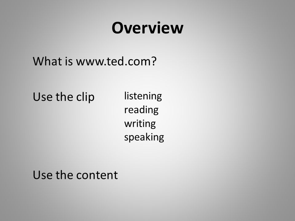 Overview What is www.ted.com Use the clip Use the content listening reading writing speaking