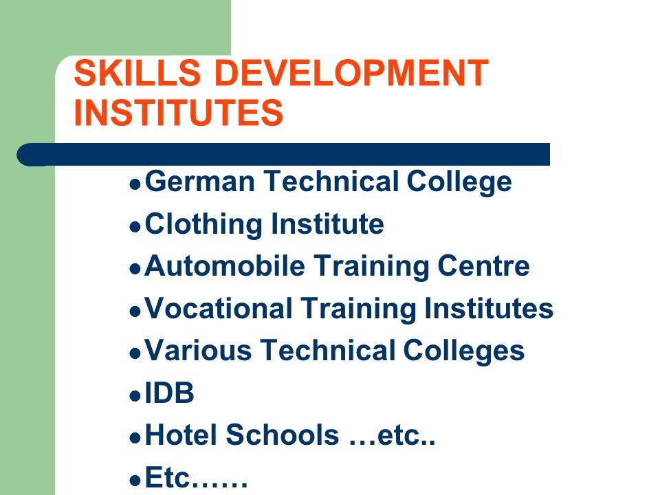 SKILLS DEVELOPMENT INSTITUTES German Technical College Clothing Institute Automobile Training Centre Vocational Training Institutes Various Technical