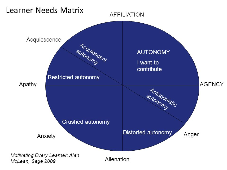 Learner Needs Matrix Apathy AUTONOMY I want to contribute AGENCY Alienation AFFILIATION Acquiescence Anxiety Anger Restricted autonomy Crushed autonomy Distorted autonomy Acquiescent autonomy Antagonistic autonomy Motivating Every Learner: Alan McLean, Sage 2009