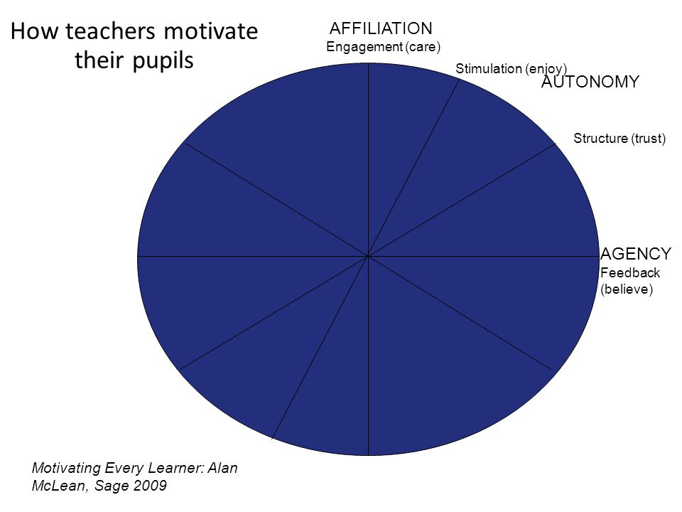 How teachers motivate their pupils AUTONOMY AGENCY AFFILIATION Engagement (care) Stimulation (enjoy) Structure (trust) Feedback (believe) Motivating Every Learner: Alan McLean, Sage 2009