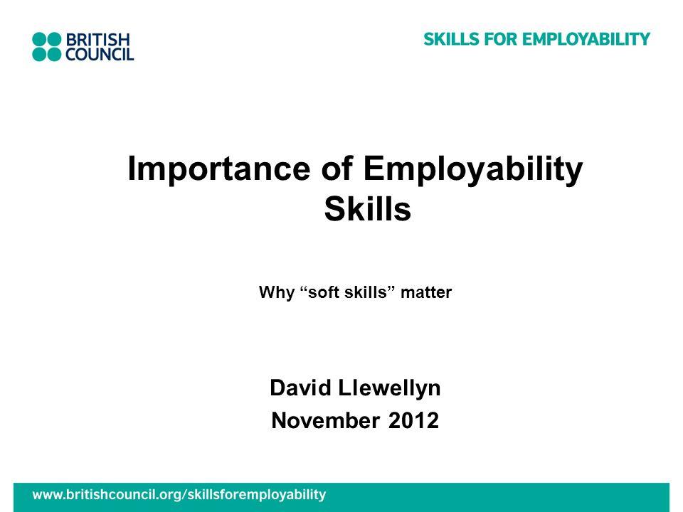 Importance of Employability Skills Why soft skills matter David Llewellyn November 2012