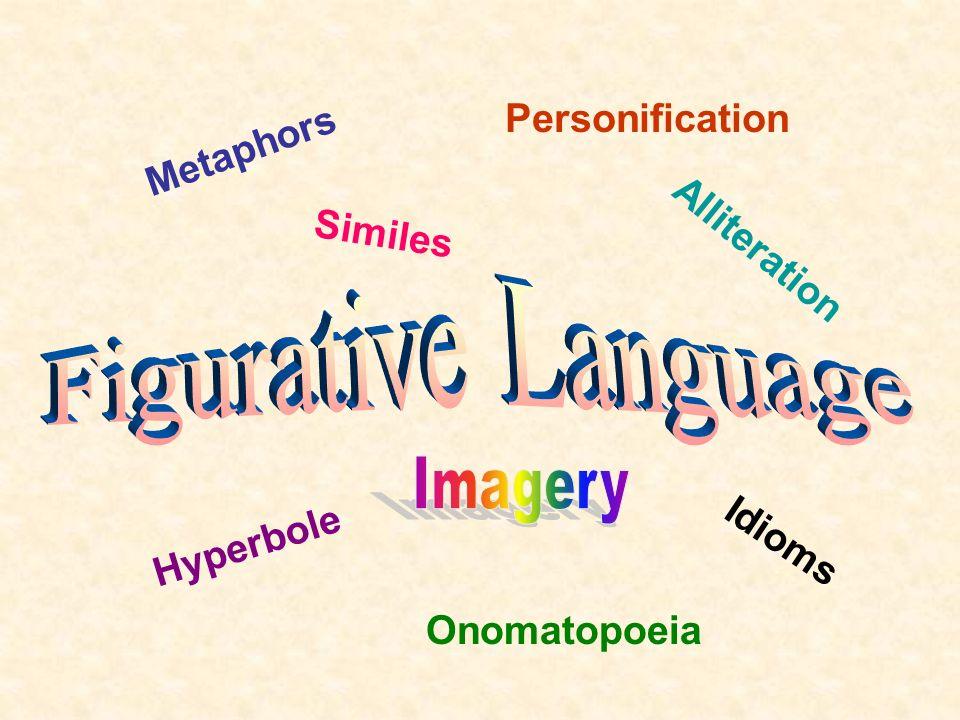 Metaphors Personification Similes Idioms Onomatopoeia Hyperbole Alliteration