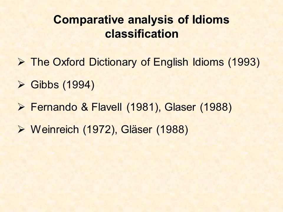 Comparative analysis of Idioms classification The Oxford Dictionary of English Idioms (1993) Gibbs (1994) Fernando & Flavell (1981), Glaser (1988) Wei