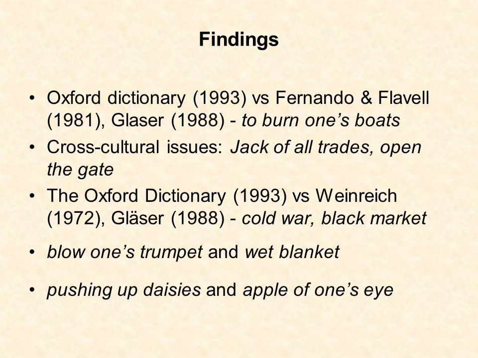 Findings Oxford dictionary (1993) vs Fernando & Flavell (1981), Glaser (1988) - to burn ones boats Cross-cultural issues: Jack of all trades, open the
