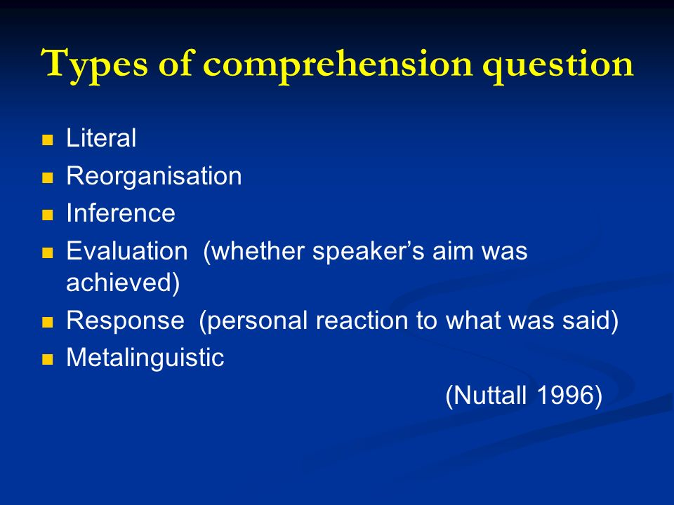 Types of comprehension question Literal Reorganisation Inference Evaluation (whether speakers aim was achieved) Response (personal reaction to what wa