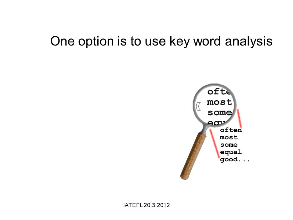 IATEFL 20.3.2012 One option is to use key word analysis