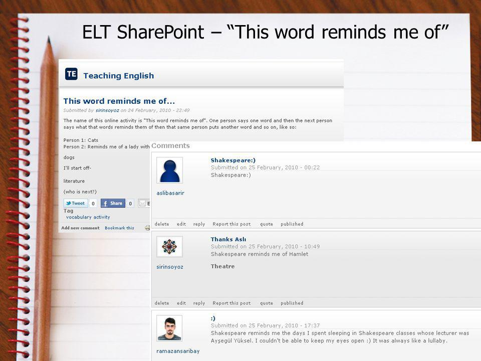 ELT SharePoint – This word reminds me of