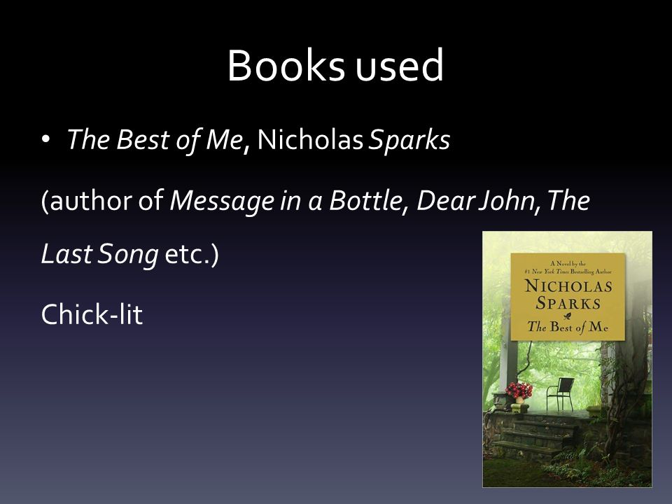 Books used The Best of Me, Nicholas Sparks (author of Message in a Bottle, Dear John, The Last Song etc.) Chick-lit