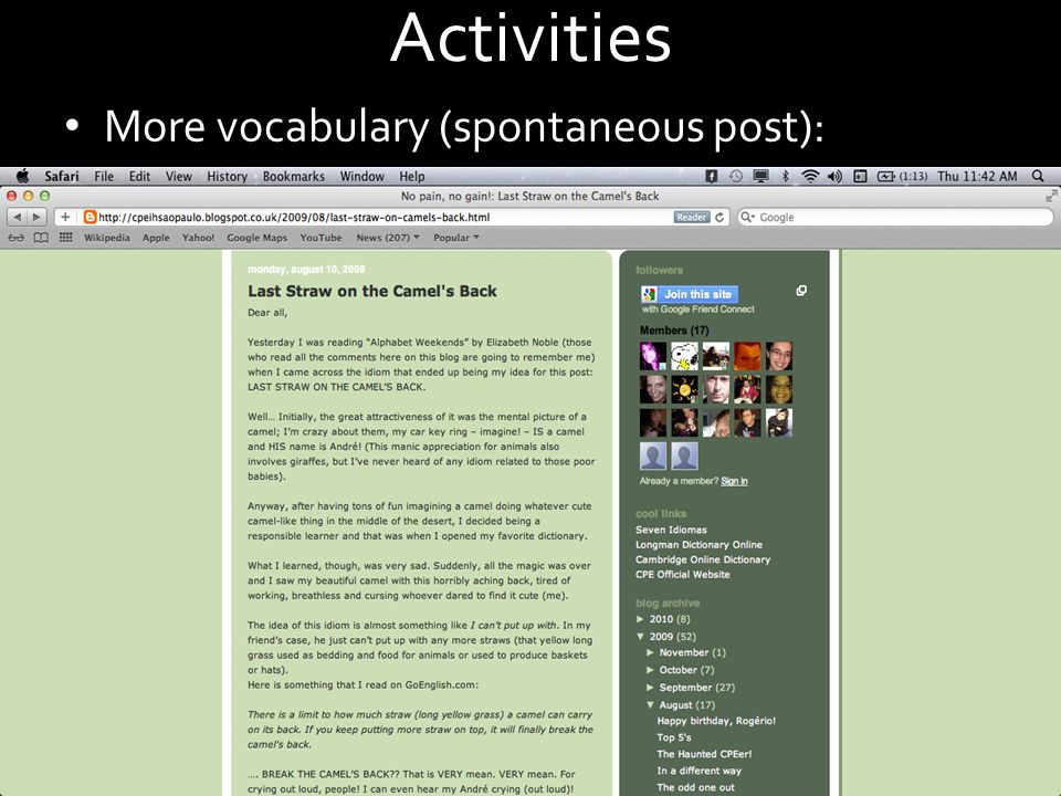 Activities More vocabulary (spontaneous post):