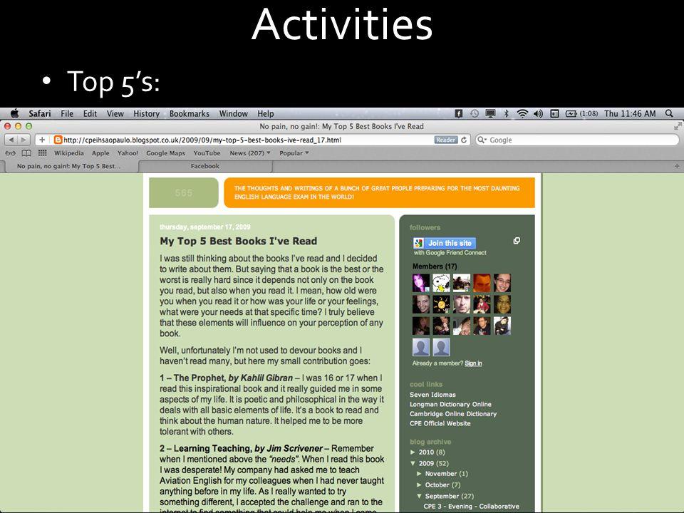 Activities Top 5s: