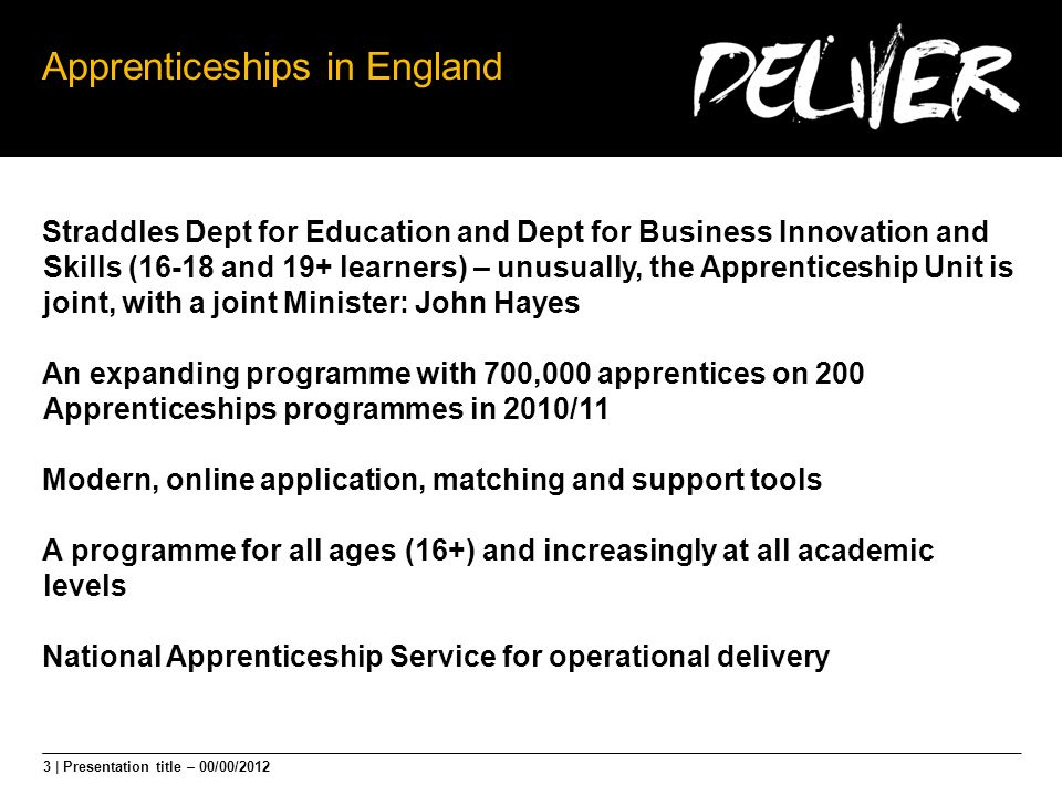 3 | Presentation title – 00/00/2012 Apprenticeships in England Straddles Dept for Education and Dept for Business Innovation and Skills (16-18 and 19+ learners) – unusually, the Apprenticeship Unit is joint, with a joint Minister: John Hayes An expanding programme with 700,000 apprentices on 200 Apprenticeships programmes in 2010/11 Modern, online application, matching and support tools A programme for all ages (16+) and increasingly at all academic levels National Apprenticeship Service for operational delivery