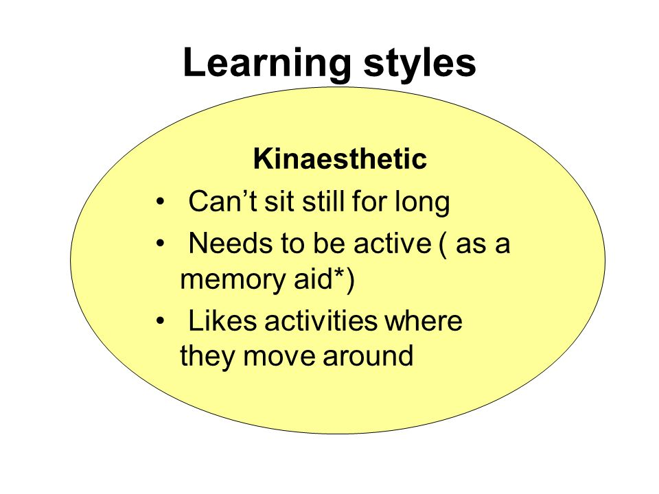 Learning styles Kinaesthetic Cant sit still for long Needs to be active ( as a memory aid*) Likes activities where they move around