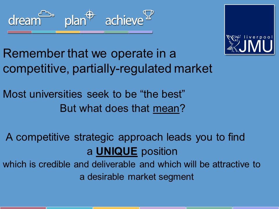 Remember that we operate in a competitive, partially-regulated market Most universities seek to be the best But what does that mean? A competitive str
