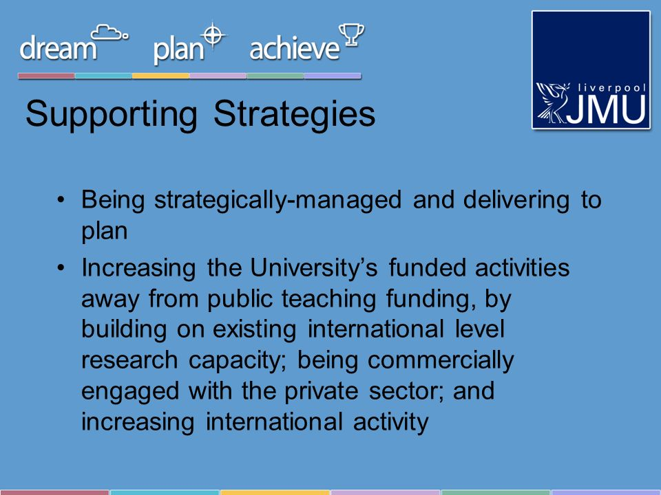 Supporting Strategies Being strategically-managed and delivering to plan Increasing the Universitys funded activities away from public teaching fundin