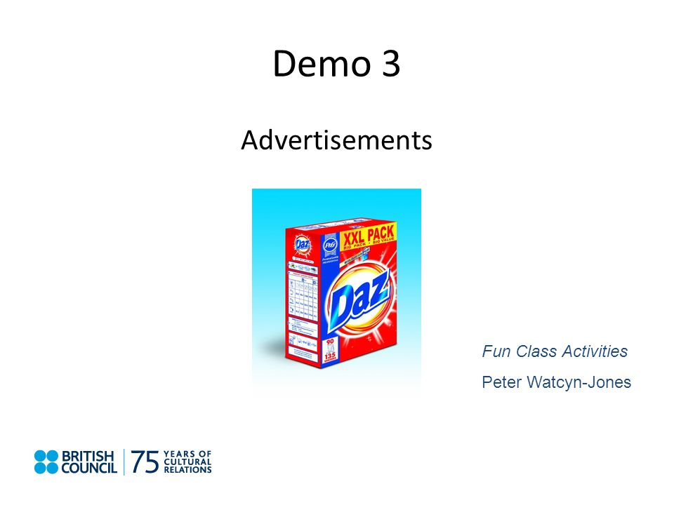 Demo 3 Advertisements Fun Class Activities Peter Watcyn-Jones