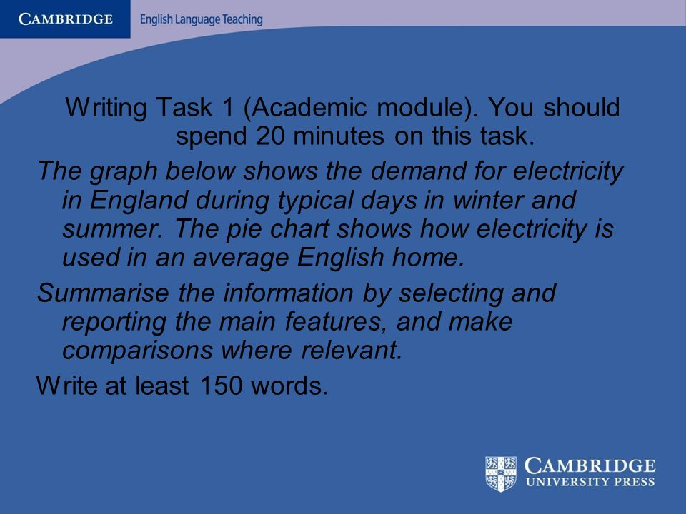 What is there in the Past Papers? Writing Task 1 (Academic module). You should spend 20 minutes on this task. The graph below shows the demand for ele