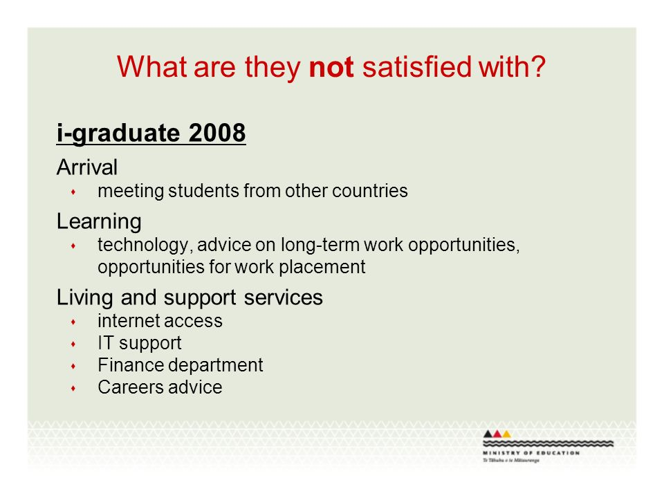 What are they not satisfied with? i-graduate 2008 Arrival meeting students from other countries Learning technology, advice on long-term work opportun