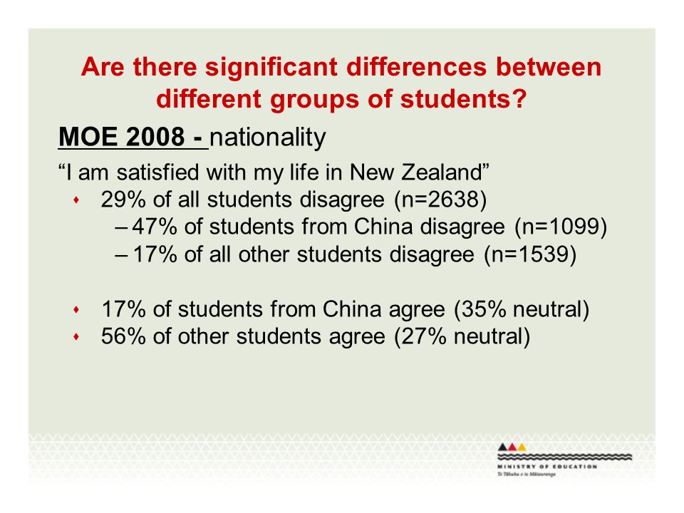 Are there significant differences between different groups of students? MOE 2008 - nationality I am satisfied with my life in New Zealand 29% of all s