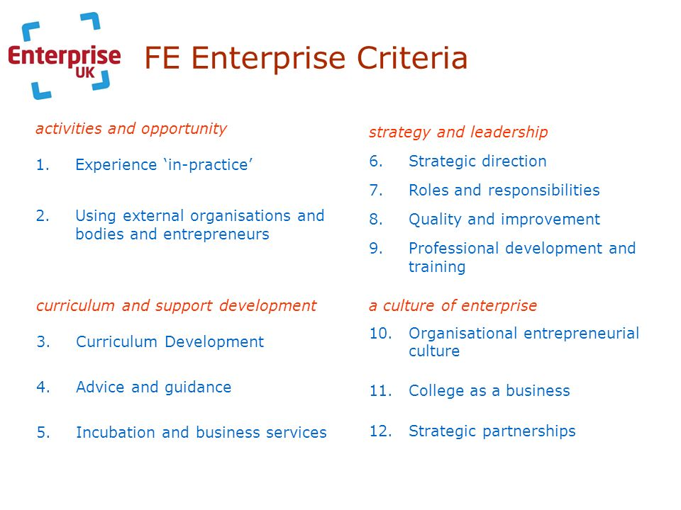 FE Enterprise Criteria activities and opportunity 1.Experience in-practice 2.Using external organisations and bodies and entrepreneurs a culture of en