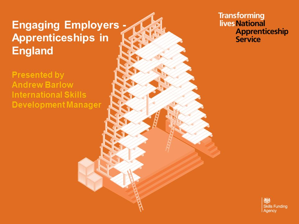 Engaging Employers - Apprenticeships in England Presented by Andrew Barlow International Skills Development Manager
