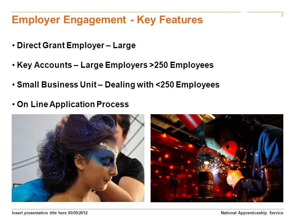 7 Insert presentation title here 00/00/2012 Employer Engagement - Key Features National Apprenticeship Service Direct Grant Employer – Large Key Accounts – Large Employers >250 Employees Small Business Unit – Dealing with <250 Employees On Line Application Process