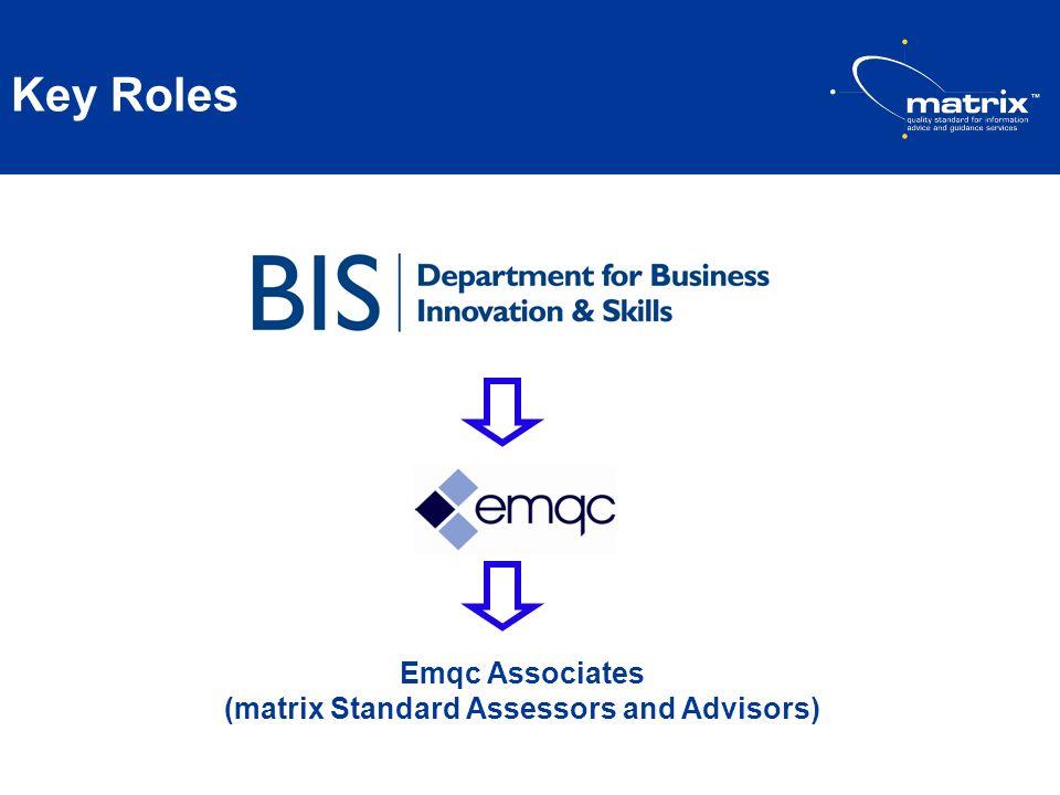Key Roles Emqc Associates (matrix Standard Assessors and Advisors)