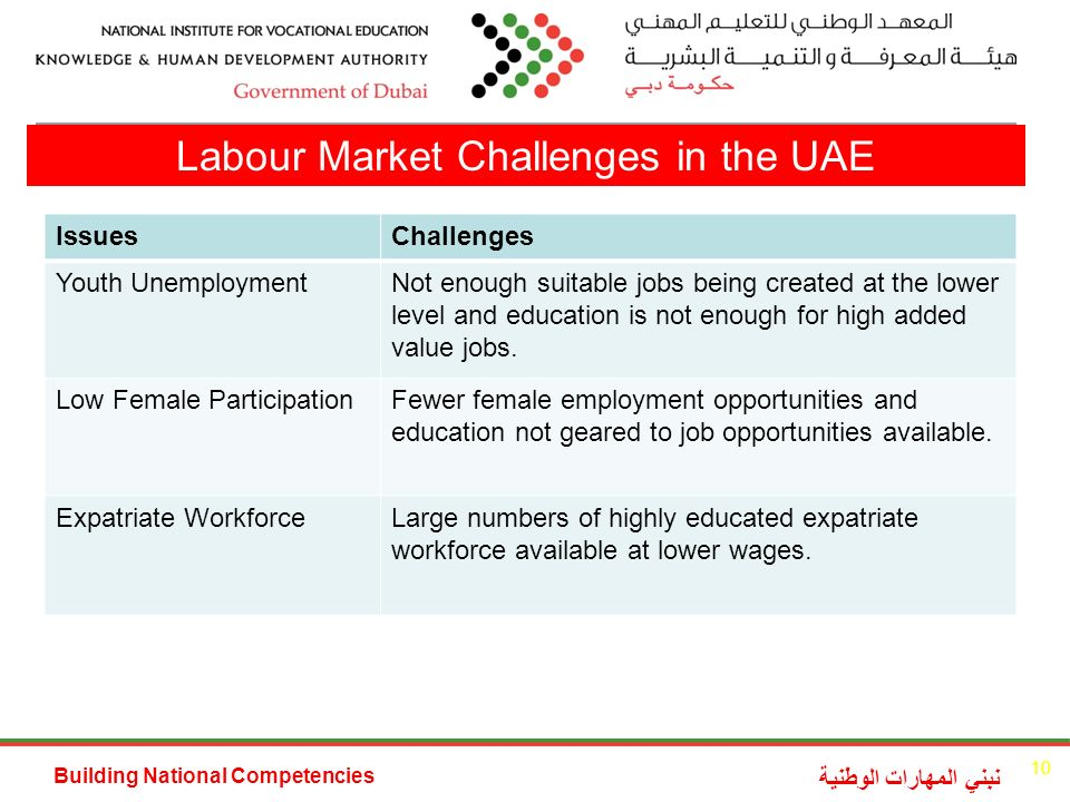 Building National Competencies نبني المهارات الوطنية Labour Market Challenges in the UAE IssuesChallenges Youth UnemploymentNot enough suitable jobs being created at the lower level and education is not enough for high added value jobs.