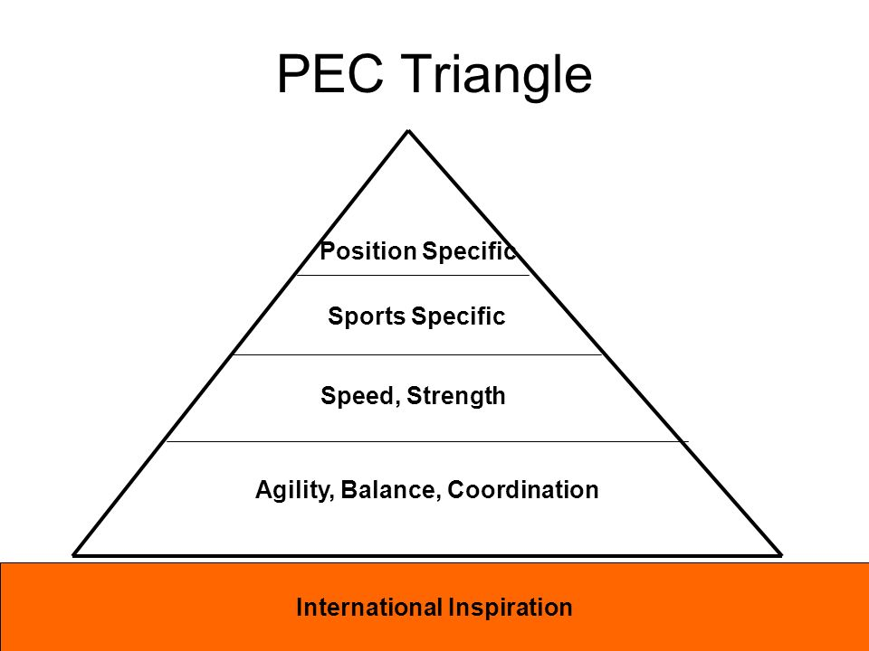 Agility, Balance, Coordination Speed, Strength Sports Specific Position Specific PEC Triangle International Inspiration