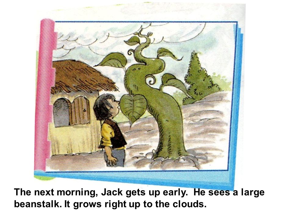 The next morning, Jack gets up early. He sees a large beanstalk. It grows right up to the clouds.