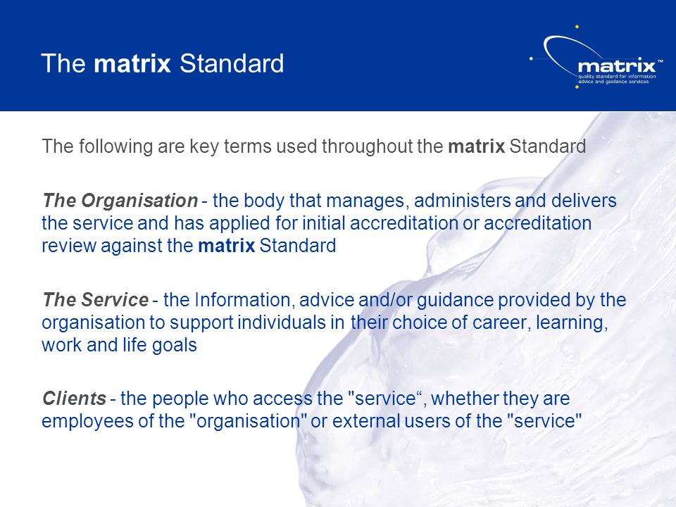 The matrix Standard The following are key terms used throughout the matrix Standard The Organisation - the body that manages, administers and delivers the service and has applied for initial accreditation or accreditation review against the matrix Standard The Service - the Information, advice and/or guidance provided by the organisation to support individuals in their choice of career, learning, work and life goals Clients - the people who access the service, whether they are employees of the organisation or external users of the service