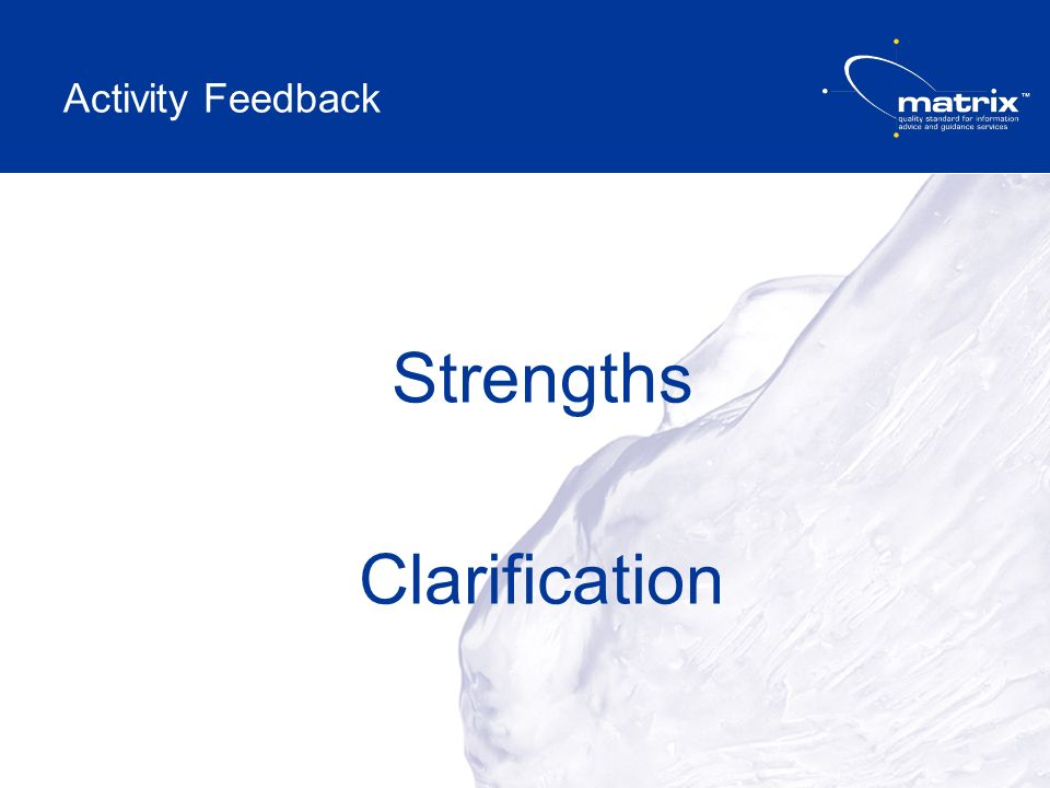 Strengths Clarification Activity Feedback