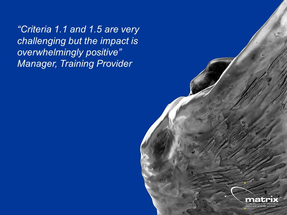Criteria 1.1 and 1.5 are very challenging but the impact is overwhelmingly positive Manager, Training Provider