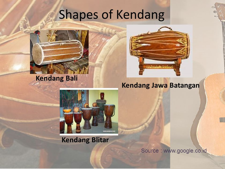 Kendang Kendang is an instrument in the Central Javanese gamelan is one of the main functions set the rhythm. Kendang is one of the primary instrument