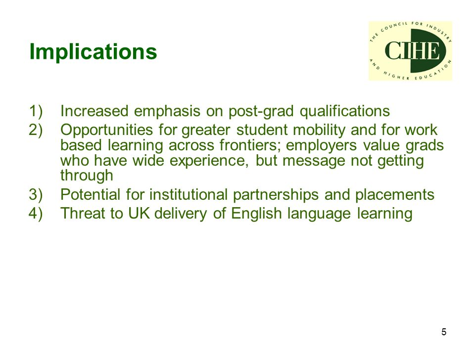 5 1) Increased emphasis on post-grad qualifications 2) Opportunities for greater student mobility and for work based learning across frontiers; employers value grads who have wide experience, but message not getting through 3) Potential for institutional partnerships and placements 4) Threat to UK delivery of English language learning Implications