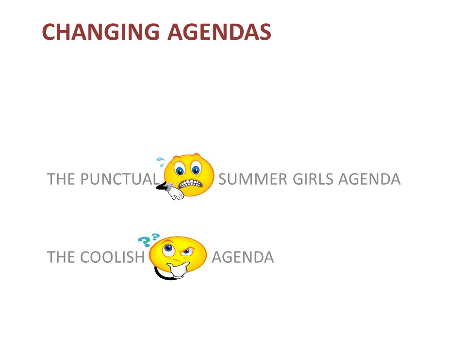 CHANGING AGENDAS THE PUNCTUAL SUMMER GIRLS AGENDA THE COOLISH AGENDA