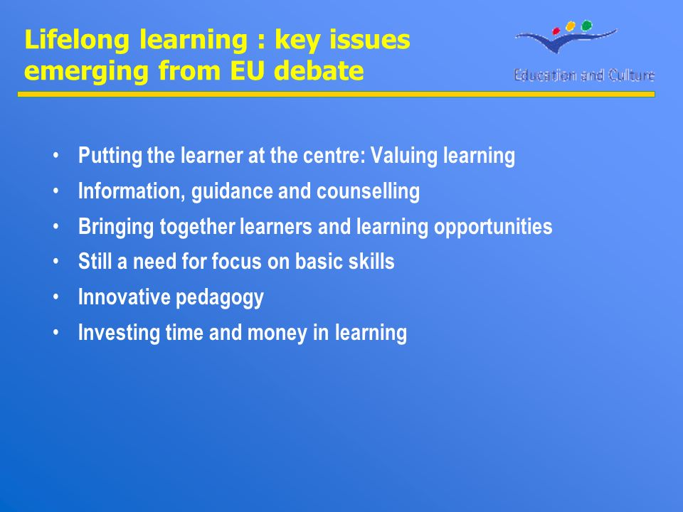 Lifelong learning : key issues emerging from EU debate Putting the learner at the centre: Valuing learning Information, guidance and counselling Bringing together learners and learning opportunities Still a need for focus on basic skills Innovative pedagogy Investing time and money in learning