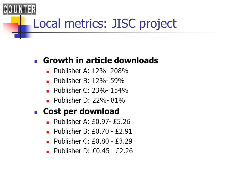 Local metrics: JISC project Growth in article downloads Publisher A: 12%- 208% Publisher B: 12%- 59% Publisher C: 23%- 154% Publisher D: 22%- 81% Cost per download Publisher A: £0.97- £5.26 Publisher B: £ £2.91 Publisher C: £ £3.29 Publisher D: £ £2.26